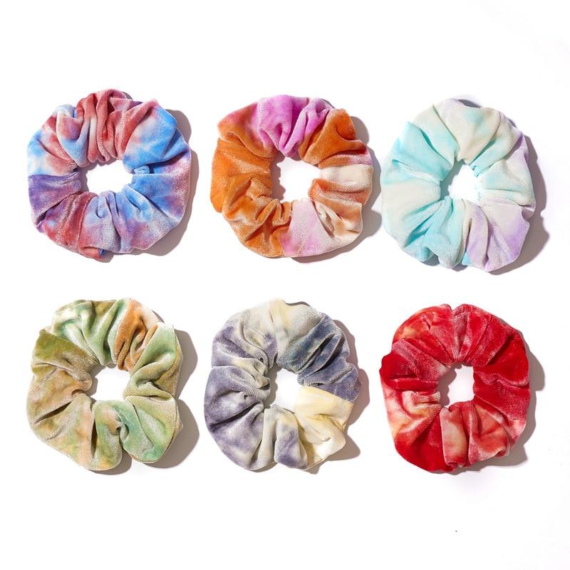 2020 New Colorful Scrunchy Pack Wholesale 6pcs/set Tie Dye Designs Rainbow Hair Schrunchy Set Velvet Vsco