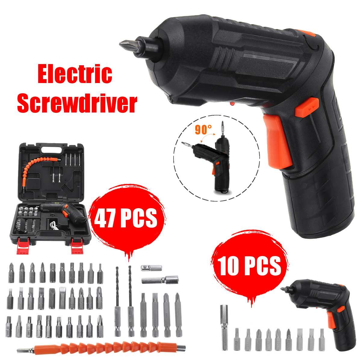 47pcs/10pcs  3.6V Mini Electric Screwdriver Tools Set Light LED Cordless Drill  USB Rechargeable Home Tools