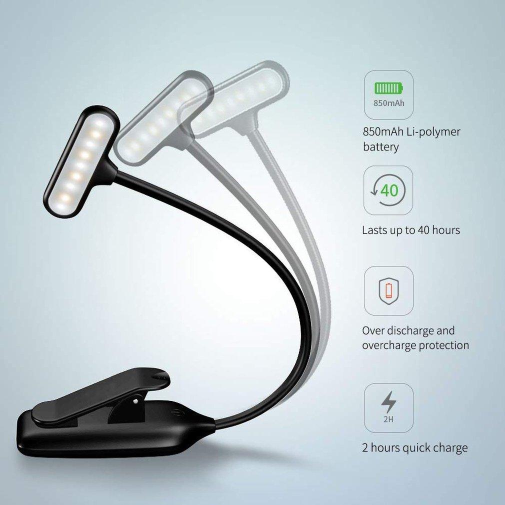 Recarregável led usb luz do livro luz de leitura flexível lâmpada livro dimmer clipe mesa lâmpada portátil clipe luz|Luzes de leitura|   -