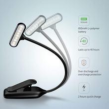 Recarregável led usb luz do livro luz de leitura flexível lâmpada livro dimmer clipe mesa lâmpada portátil clipe luz
