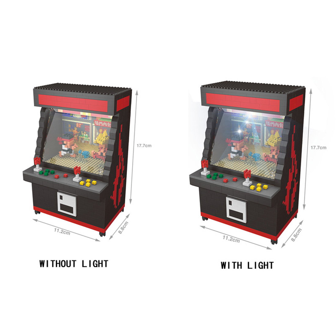 hot LegoINGlys creators Street Arcadegame Fighter mini micro diamond building block with led light Game machine bricks toys gift image