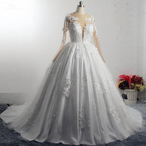 Image 2 - RSW1572 Robe De Mariee Illusion Back Buttones Flower Dress Princess Full Sleeves Wedding Gowns