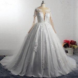 Image 2 - RSW1572 Robe De Mariee Illusion Terug Buttones Bloem Jurk Prinses Volledige Mouwen Bruidsjurken