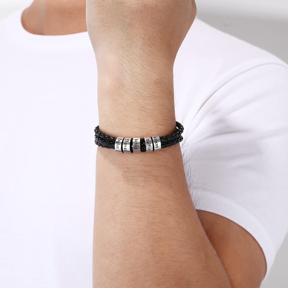 Personalized Small Custom Beads Black Braid Rope Bracelet For Men Engraved Family Name ID Bracelets & Bangles Gift For Him
