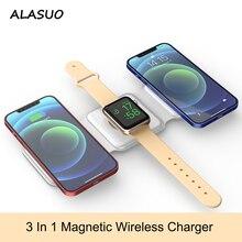 شاحن لاسلكي مغناطيسي 3 في 1 لهواتف iPhone 12/12 Pro max Airpods Pro Apple Watch 15 وات شحن سريع قابل للطي لوحة هاتف QI قابلة للطي
