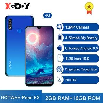 XGODY HOTWAV K2 Mobile phones Android 9.0 4G LTE Smartphone Fingerprint 2GB 16GB Face ID CellPhone 6.26 13MP Camera unlocked asus zenfone deluxe 2 ze551ml 4g lte smartphone 4g 64g 13mp 5 5 mobile