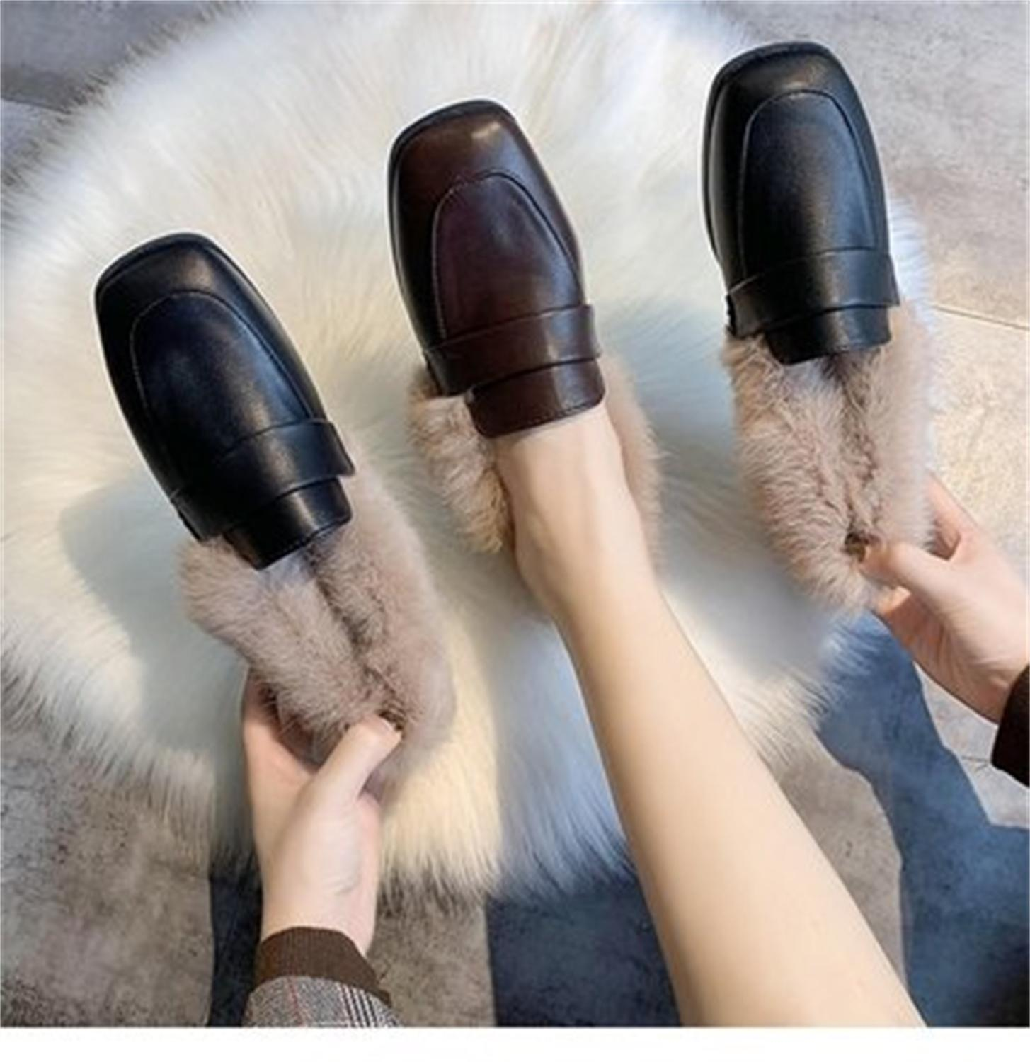 Autumn winter casual women shoes fluffy warm fluffy lining fashion black brown square toe women's shoes 25