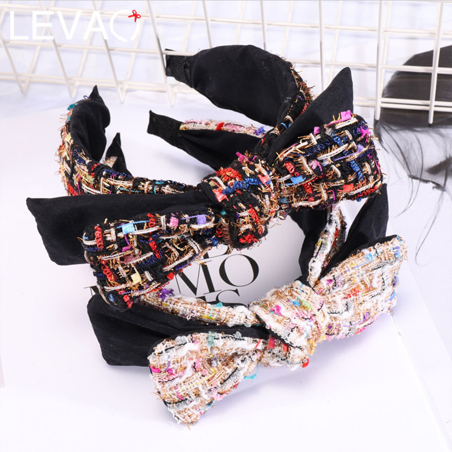 Levao Novelty Wool Big Double Bow Hairbands For Lovely Girls Two Patchwork Colors Fashion Plastic Wide-edged Headbands For Women