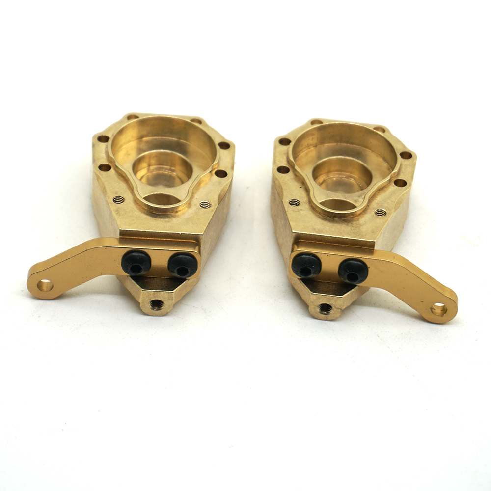 YEAHRUN 1Pair Counterweight style Climbing Car Accessories Heavy Duty Brass Front Steering Knuckle Set For TRAXXAS TRX4 1 10 RC in Parts Accessories from Toys Hobbies