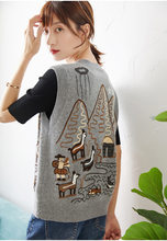 Women Sweater Fall/Winter 2020 New Knitted Cardigan Fashionable Shepherd Embroidered Casual Knitted Cashmere Vest(China)