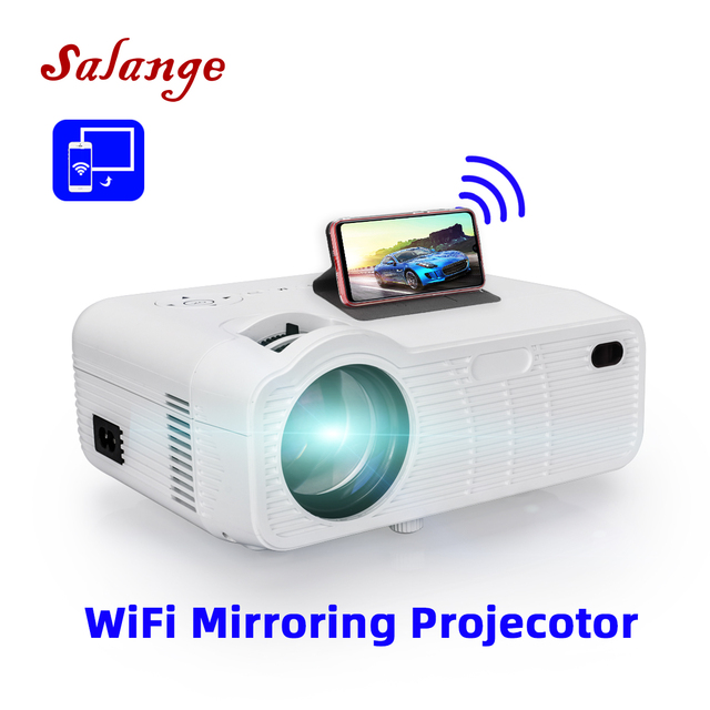 Salange P40W Video Projetor Led Mini Projector for Mobile Phone Beamer for Home Cinema, Support Wireless Sync Display