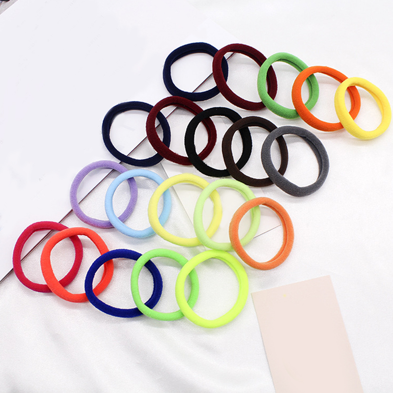 Hottest Little Girls Colorful Circle Elastic Hair Band Hair Accessories 50Pcs