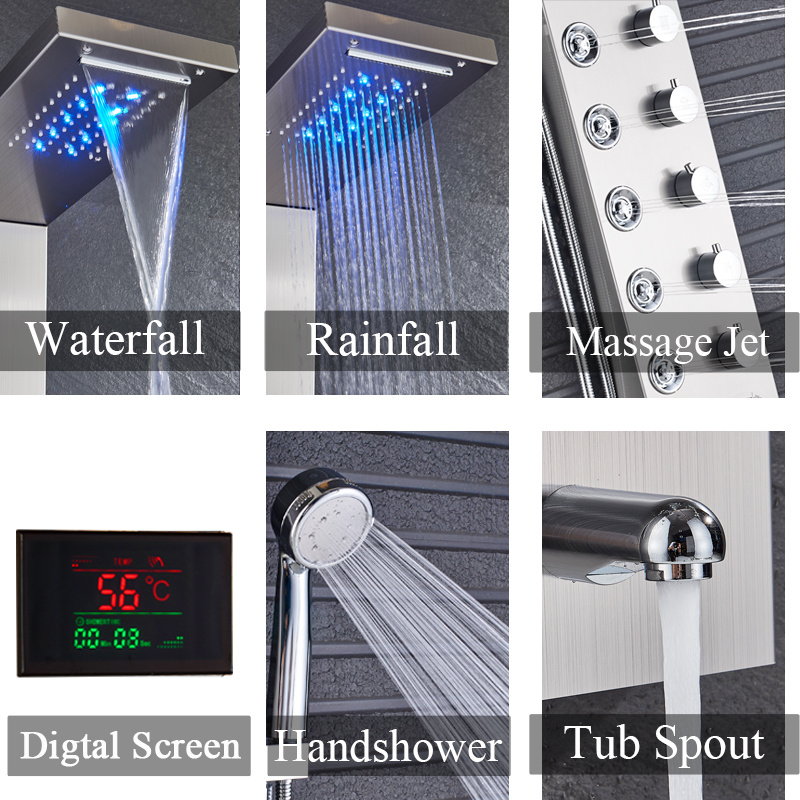 Hc31cc3e69169482db4f3dd659801d6b4m Newly Luxury Black/Brushed Bathroom Shower Faucet LED Shower Panel Column Bathtub Mixer Tap With Hand Shower Temperature Screen