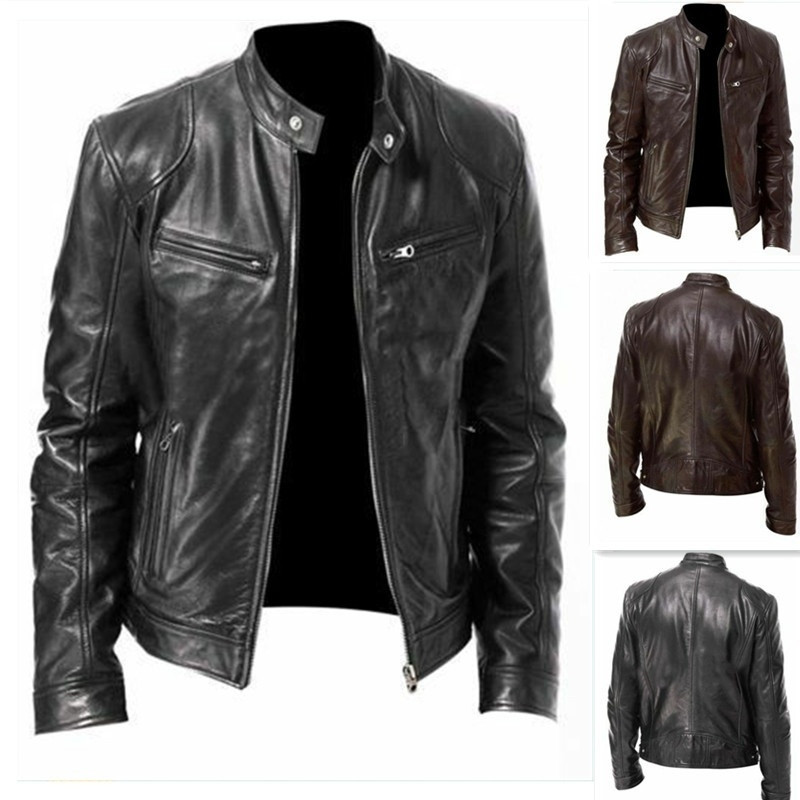 Punk Faux Leather Jacket Men Winter Long Sleeve Pocket Moto Zipper Button Coat Male Mandarin Collar Solid Outwear