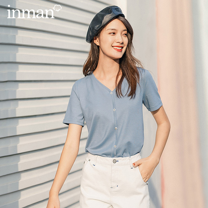 INMAN 2020 Summer New Arrival V-neck Single-breasted Leisure Office Style Candy Color Short Sleeve T-shirt