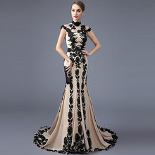 Tanpell Elegant Evening Dress High Neck Cap Sleeves Appliques Woman Party Gown Floor Length Mermaid