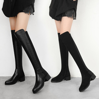 Women Boots Slim Sexy Over The Knee Boots Fashion Suede and Leather Thigh High Boots Female Winter Boots Bota 2019