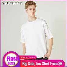 SELECTED Men's Loose Leisure Fit 드롭 숄더 화이트 반소매 o 넥 캐주얼 t 셔츠 S | 419201552(China)