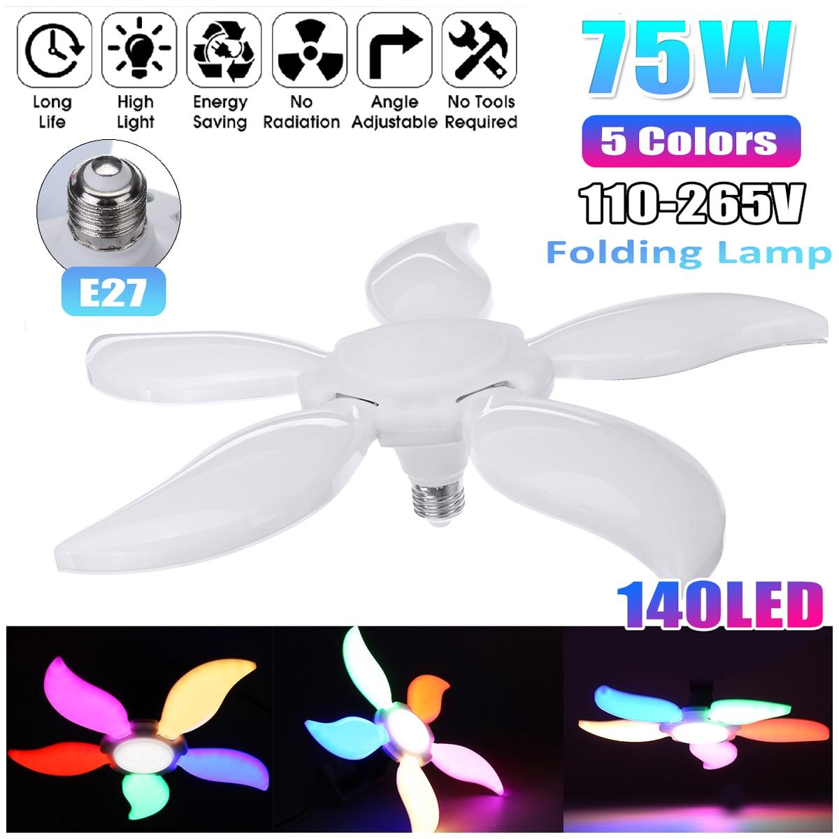 75W Super Bright Colorful Led Garage Light 5 Leaf Deformable Industrial Lighting E27 110-265V 2835 Workshop Ceiling Lights