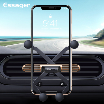 Essager Mini Gravity Car Phone Holder For iPhone Universal Air Vent Mount Holder Clip For Cell Mobile Phone in Car Holder Stand gravity induction car holder 10w wireless charging for phone in car air vent clip mount mobile phone holder for iphone x samsung