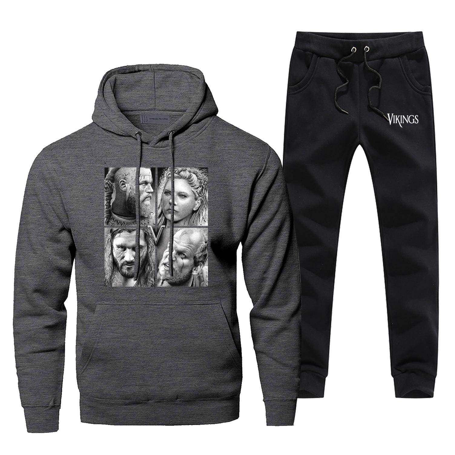 Odin Vikings Mens Hoodies Sets Two Piece Pant Odins Viking Hoodie Sweatshirt Sweatpants Streetwear Sportswear Male Sweatshirts