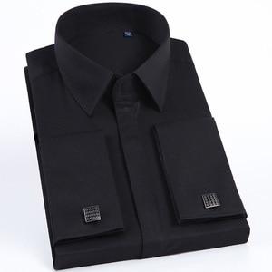 Image 2 - Jbersee Plus Size Homens Modas Francês Punho da Camisa De Luxo Homens Marca Slim Fit Casuais de Manga Comprida Vestido de Festa de Casamento Dos Homens camisas