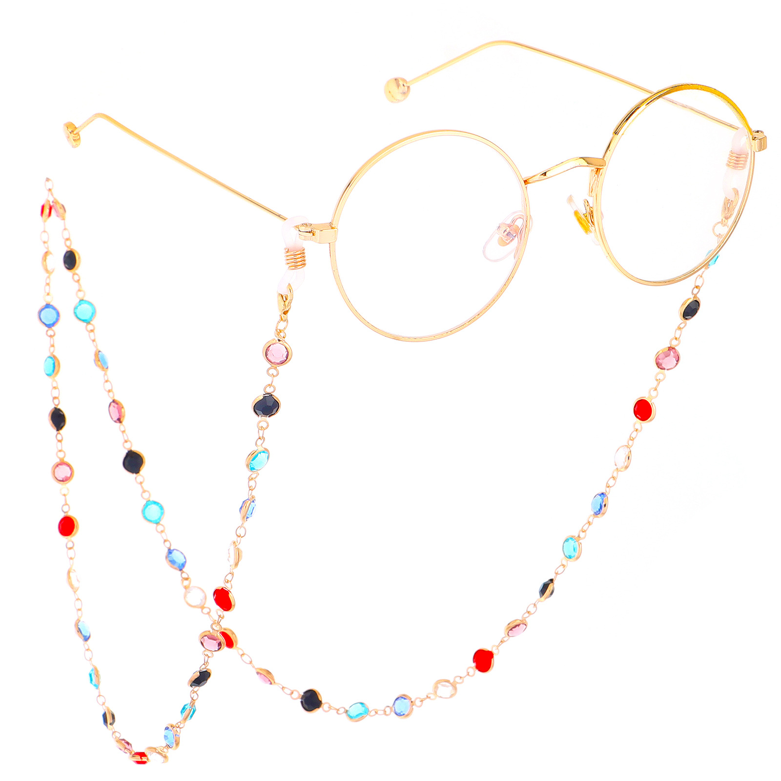Luxury Colorful Glass Crystal Glasses Chain For Ladys Eyeglass Lanyard Reading Chain Accessories Sunglasses Lanyard Strap Cord
