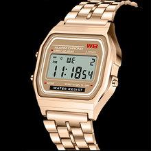 Sport kobiety zegarek wielofunkcyjny zegarek funkcji klasyczny kwadrat LED zegarki elektroniczne ze stopu tanie tanio ONEVAN CN (pochodzenie) Nie wodoodporne Klamra Cyfrowy Nie pakiet 30mm Podświetlenie Wyświetlacz LED Luminous Multiple time zone