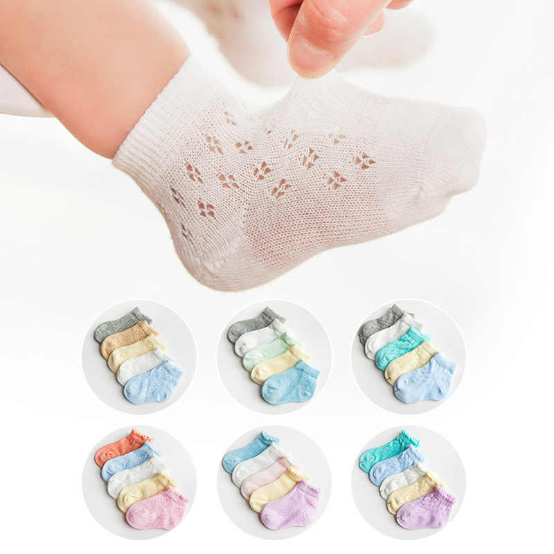 5 Pairs/lot Newborn Baby Girls Boys Socks Summer Mesh Thin Cotton Breathable Short Socks for 1 2 3 4 5 6 Year Children Wholesale