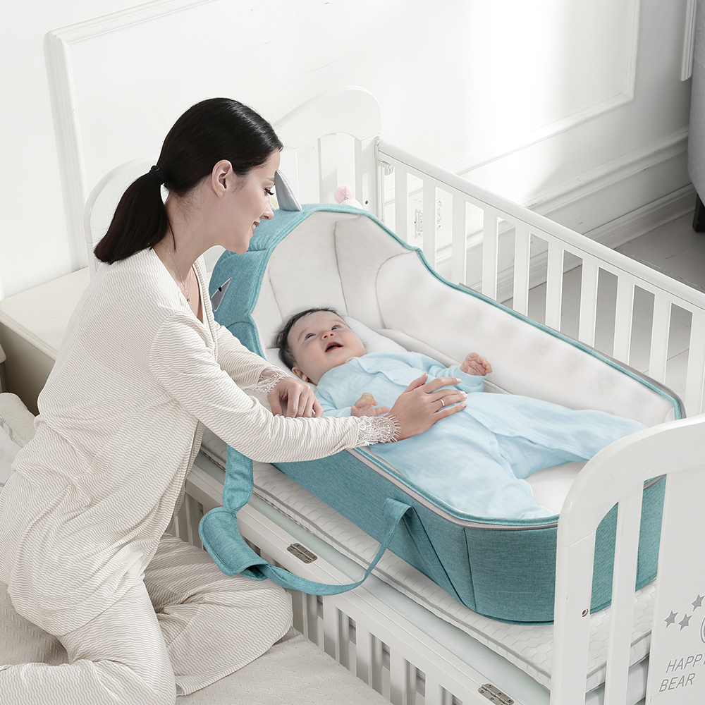 Baby Infant Newborn Lounger for 0-12 Months Portable Bassinet Cushion with Cotton Cover