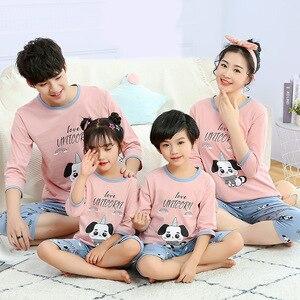 Семейные комплекты для мамы и дочки, комплект одежды для сна, одежда для маленьких девочек, летняя Домашняя одежда, Семейные пижамы, костюм с...