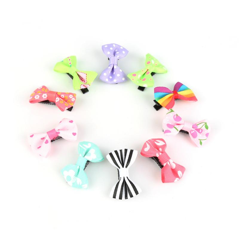 10 Pcs Mini Candy Color Hairpin Solid Dot Print Mini Hair Clip Bow For Styling Tool Cute Newborn Baby Kids Girls Hair Decaration