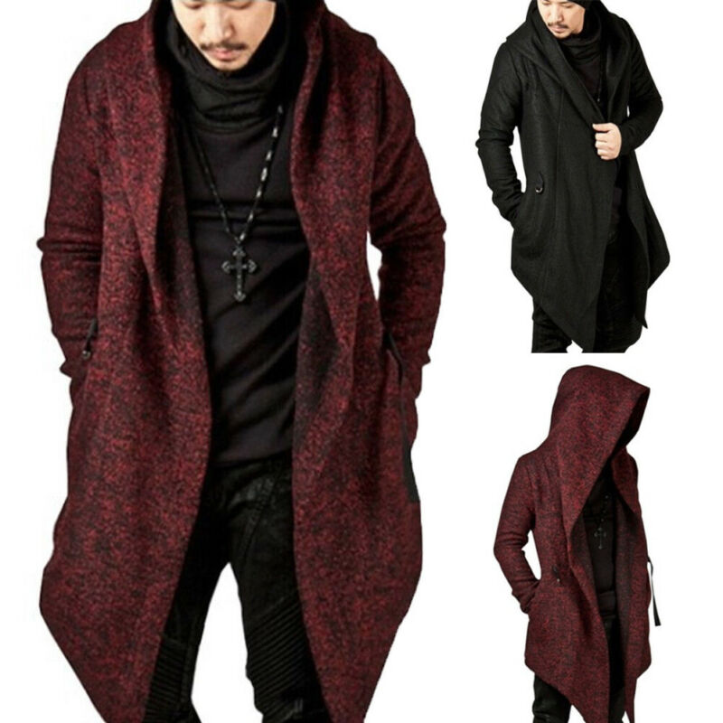 Men Casual Hooded Trench Autumn Winter Clothes Long Sleeve Knitted Cardigan Slim Trench Solid Coat Overcoat Streetwear Male Coat