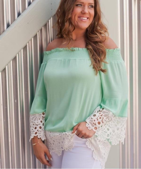 women blouse fashion 2020  female ladies casual clothing womens lace top long sleeve slash neck shirt top 90s