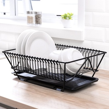 Iron Kitchen Stand Dish Drying Rack with Tray over Sink Plates Drainer Tableware Drain Organizer Container Accessories Tools