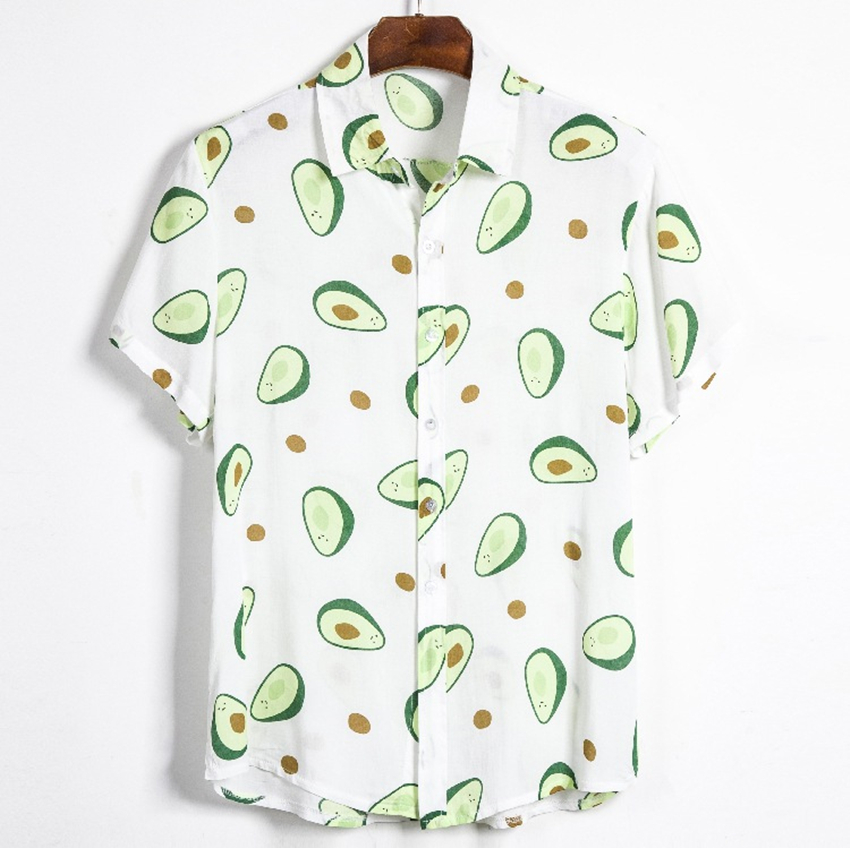 Summer Men Shirt Avocado Print Men Shirt Turn-down Collar Short Sleeve Casual Beach Hawaiian Shirts Men Streetwear Camisa 2020