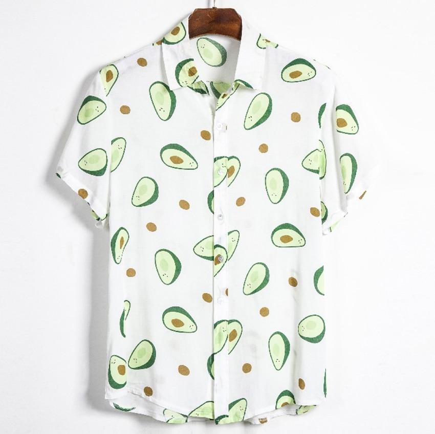 Summer Men Shirt Avocado Print Men Shirt Turn-down Collar Short Sleeve Casual Beach Hawaiian Shirts Men Streetwear Camisa 2020