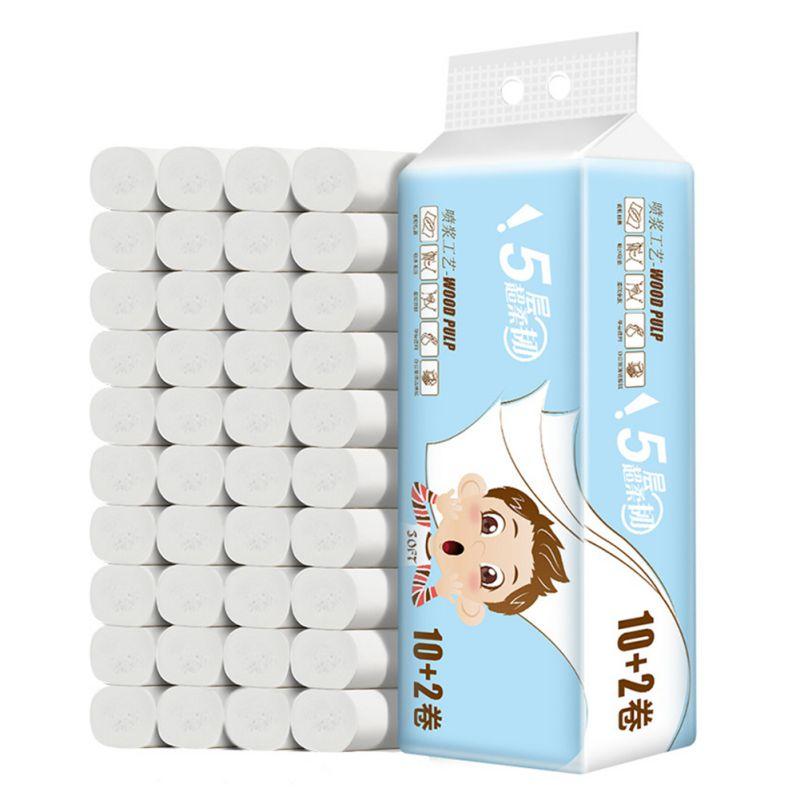 12.2 * 13cm 12 Pcs Five Layers Toilet Tissue Home Bath Toilet Roll Paper Soft Toilet Paper Skin-friendly Coreless Paper Towels