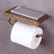 Soporte de papel higiénico con estante de teléfono duradero práctico montado en la pared colgador de papel higiénico rollo de baño Estilo Vintage de decoración