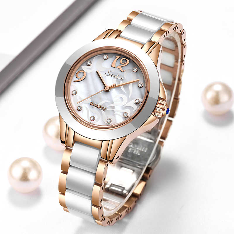 SUNKTA Fashion Simple Women Watches Ladies Bracelet Watch  Ceramics Quartz Wristwatches Clock waterproof watch Montre Femme+Box
