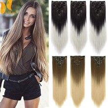 Xinran длинные прямые волосы для наращивания на заколках синтетические волосы синтетические клипсы для наращивания волос термостойкие 7 шт./к...