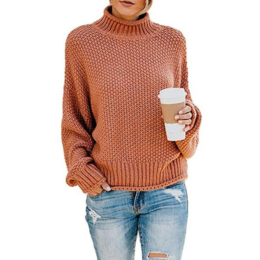 2020 Women Autumn Solid Color Long Sleeve Turtle Neck Knit Sweater Pullover Knitwear Turtle Neck Knit Sweater Pullover Knitwear