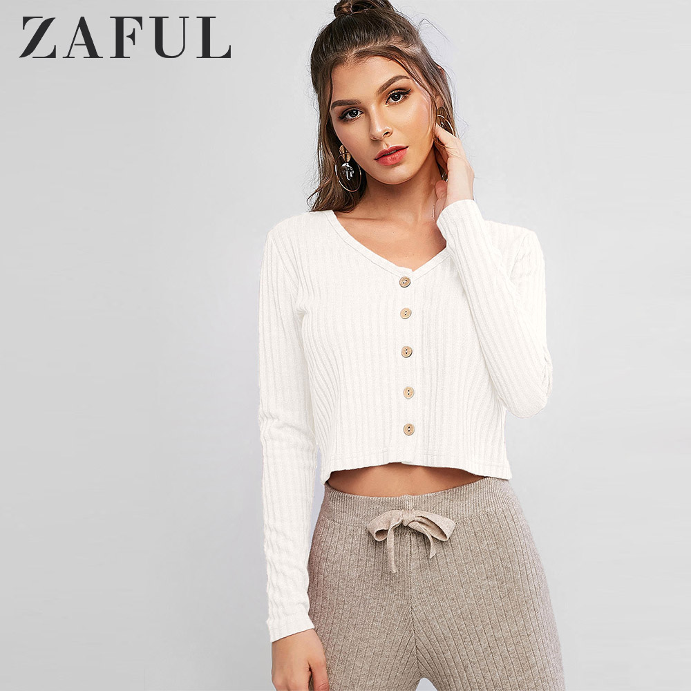 ZAFUL Autumn Women Solid Ribbed Button Up Cardigan Solid V Neck Woman Tops Single Button Tight Sweater Short Sweaters Cardigan
