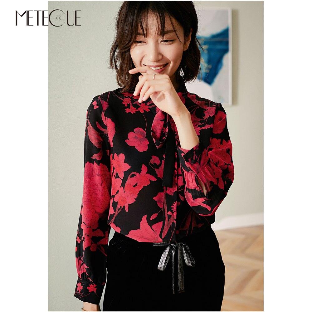 Muszka kołnierz 100% Silk kobiety bluzka 2019 wiosna lato moda czerwony kwiatowy z długim rękawem koszule damskie i bluzki 2019 jesień w Bluzki i koszule od Odzież damska na  Grupa 1