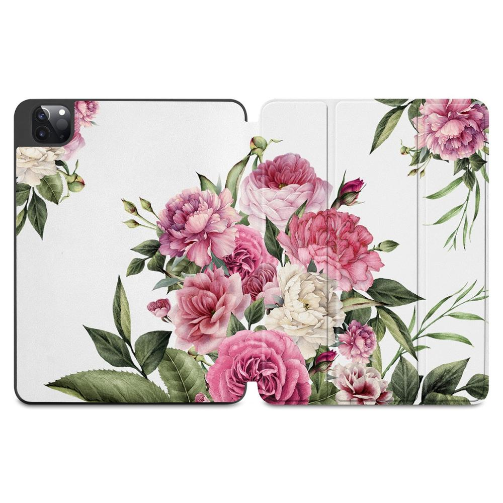 X171 Pink Flowers Print Case for Apple iPad Pro 11 2020 2018Full Body Protective Rugged Shockproof Case with