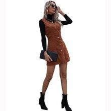 JYSS sonbahar kış kadife elbise kadın vetement femme kolsuz v boyun kahverengi mini elbise parti kadın 60263