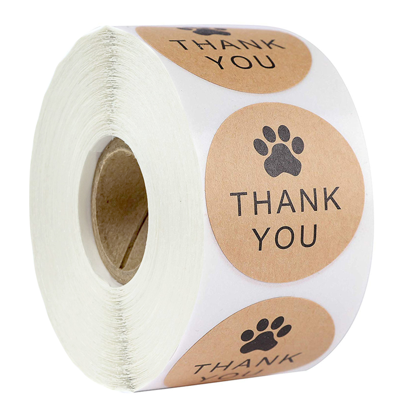 Natural Kraft Paper Thank You Stickers seal labes Dog Paw Print 1Inch gift Packaging stationery sticker 500 Labels Per Roll