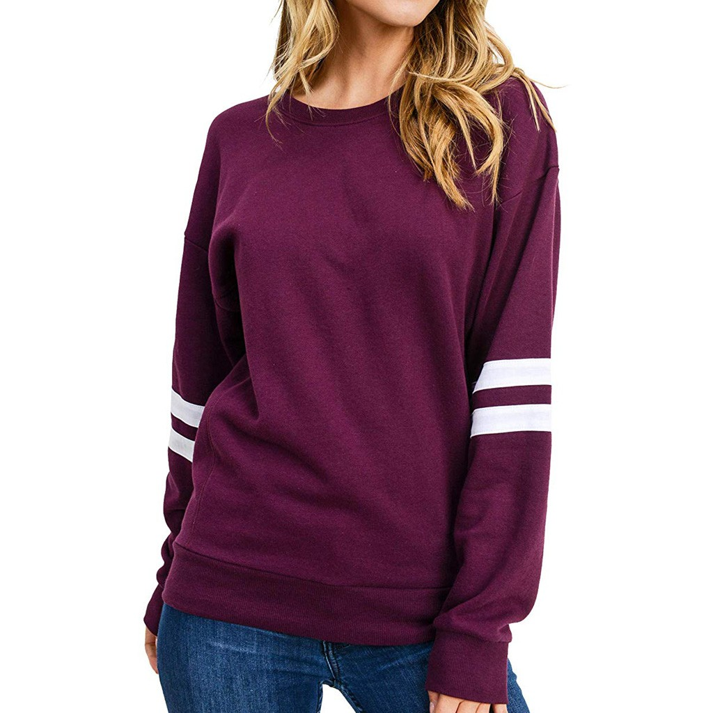Jaycosin Fashion Women Simple O-Neck Stripe Sweatshirt Stylish Long Sleeve Comfortable Casual Slim Pullover Tops Blouse 926#3