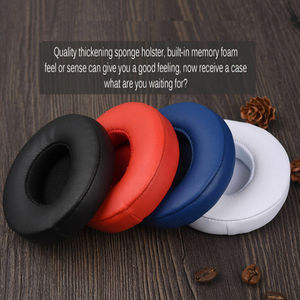 Image 3 - 2 sztuk bezprzewodowe/przewodowe wymienne nauszniki poduszki na uderzenia Dre Solo 2 Solo 3 PU skórzane uszy poduszka pod kubek akcesoria do słuchawek