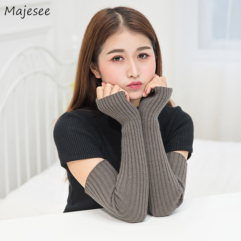 Arm Cover Warmers Women Solid Winter Knitting Simple Harajuku Long All-match Girls Student Warm Cuffs Womens Korean Style Chic